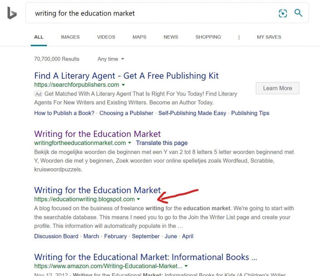 Bing search page 1