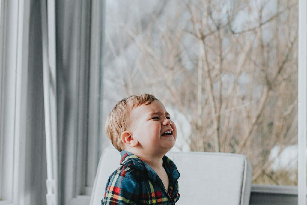 A toddler crying in frustration represents students not understanding in class.
