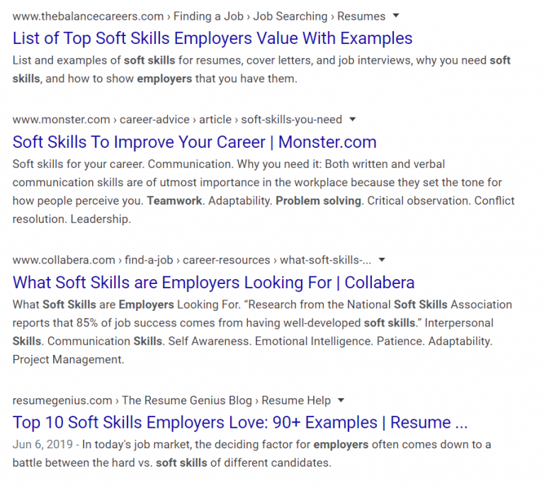 A Google search return on the words 'employer soft skills' returns a number of articles about in-demand soft skills. Teamwork in an online course builds community and practices these soft skills.