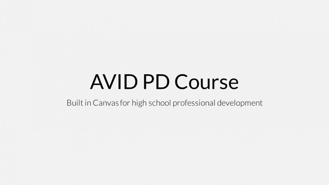AVID PD online course