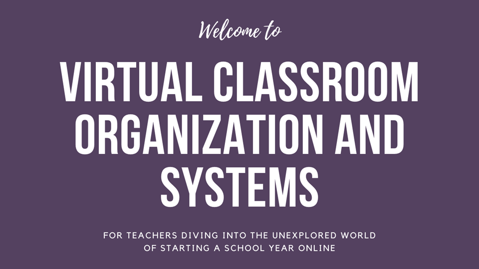 Virtual Classroom Organization and Systems course cover page