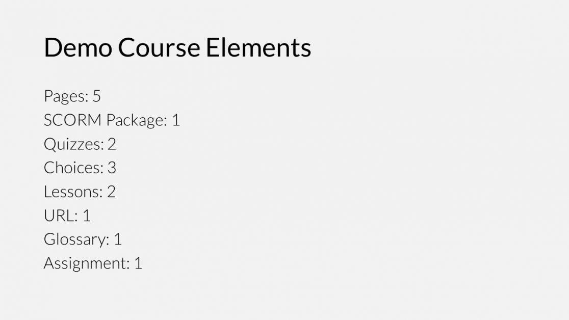 Demo course elements