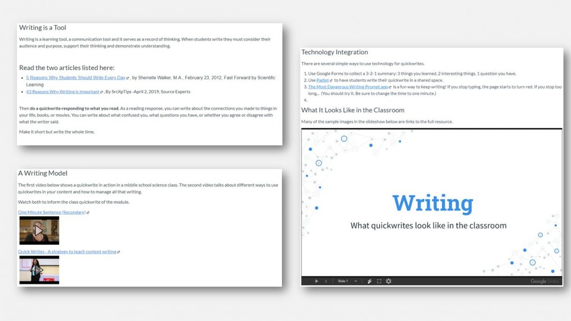 AVID online PD course writing module