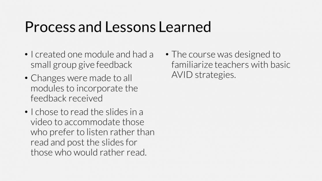 AVID online PD course process and lessons learned
