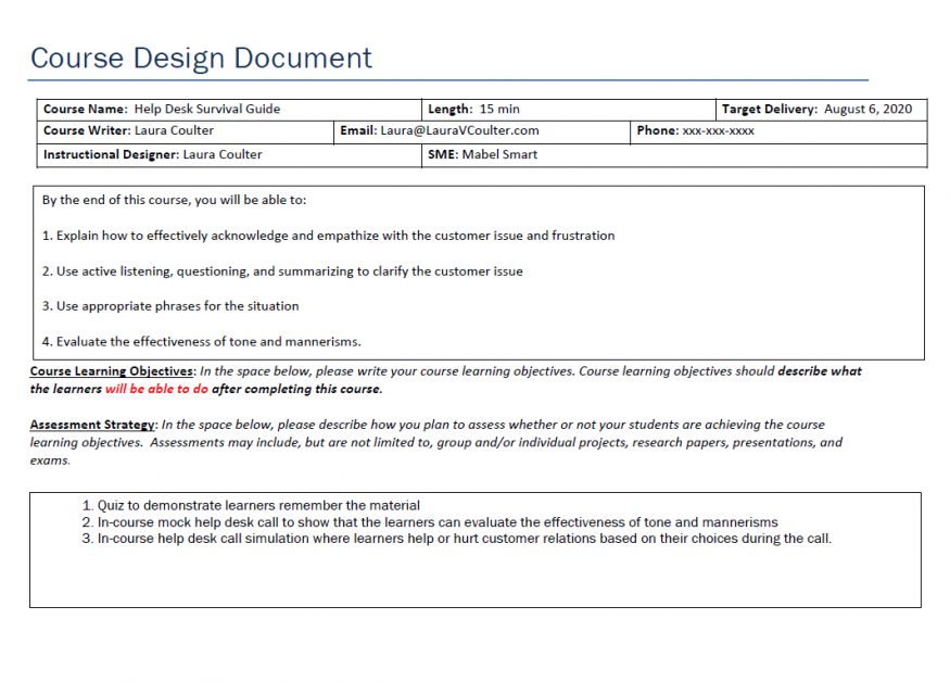 Design Document for Call Center Training - Page 1